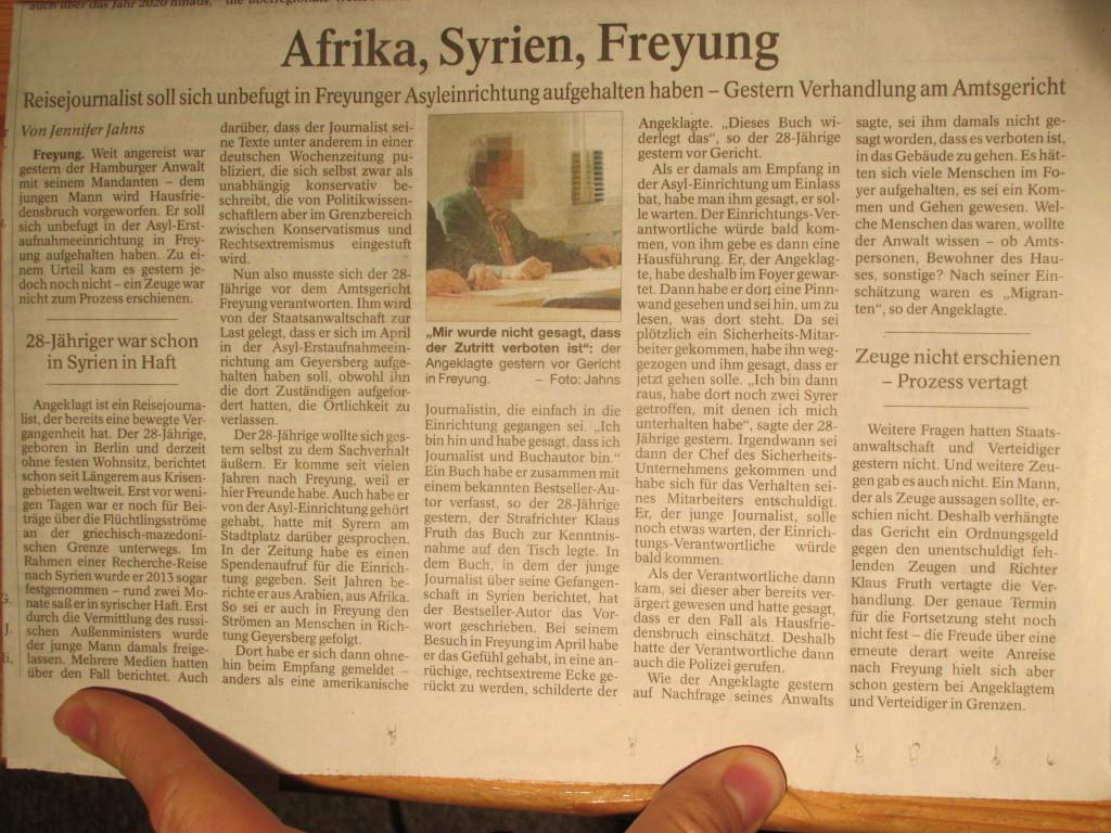 """""""Afrika, Syrien, Freyung"""" (PASSAUER NEUE PRESSE, S. 17, Autorin J. Jahns, 11.09.2015)"""
