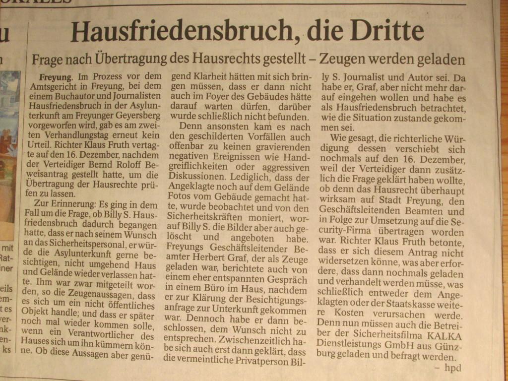 """""""Hausfriedensbruch, die Dritte"""" (PASSAUER NEUE PRESSE, S. 32, Autor H. Haydn, 28.11.2015)"""