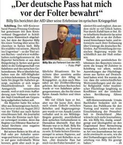 """""""Der deutsche Pass hat mich vor der Folter bewahrt"""" (PASSAUER NEUE PRESSE, S. 19, 31.12.2015)"""