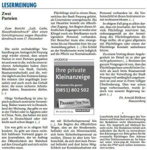 Leserbrief von Dr. Arnold Bölkow (PASSAUER NEUE PRESSE, S. 28)